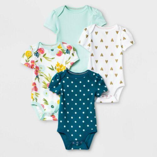 Baby Girls 4pk Floral Fields Short Sleeve Bodysuit - Cloud Island Green/White