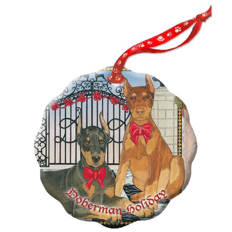 Doberman Pincher Holiday Porcelain Christmas Tree Ornament