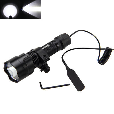 Tactical 5000lm T6 LED Flashlight Lamp+Pressure Switch Picatinny Rail Mount Set ()