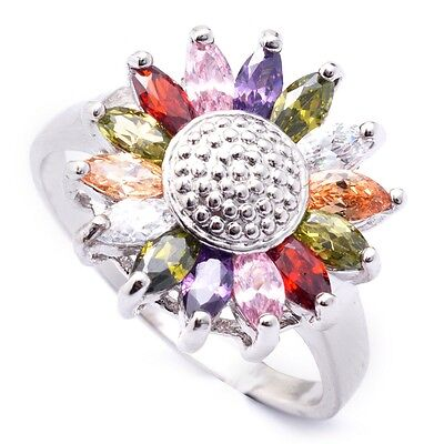 Marquise Jewelry Box - Gift Box Package Colorful Marquise Cubic Zircon White Gold Plated Jewelry Ring