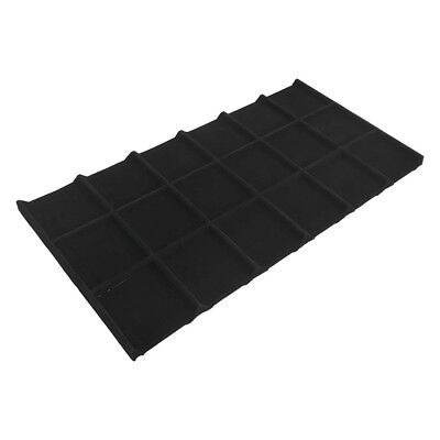 18 Square Black Velvet Jewelry Compartment Tray Storage Organizer Drawer Inserts