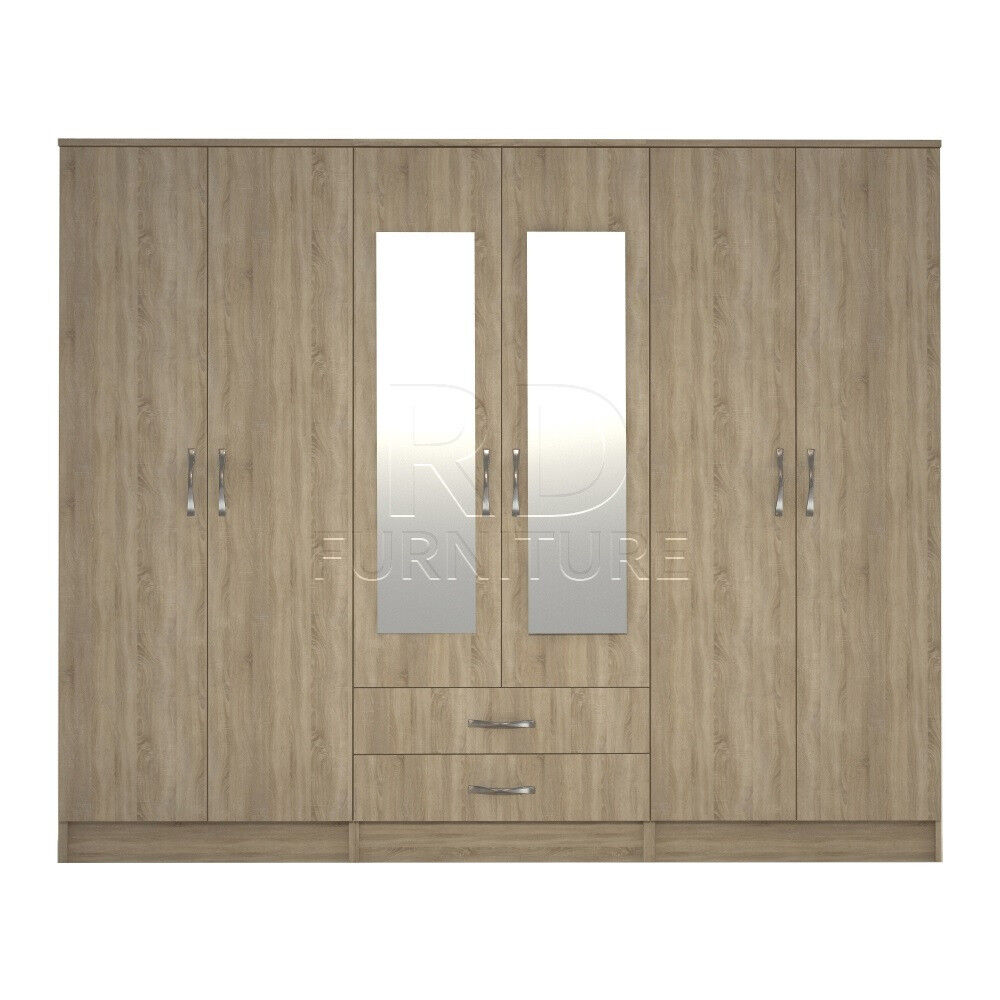 Cornwall model 4, 216cm wide 6 door oak wardrobe