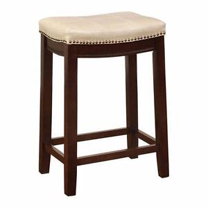 New, Linon Claridge Jute Leatherette Counter Stool; Natural w/ Dark Brown Legs *PickupOnly PU2