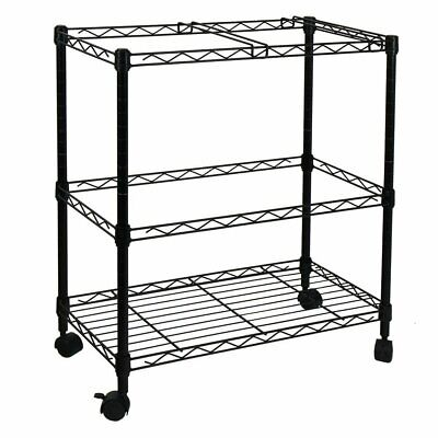 Two Tier Wire Rolling Mobile File Cart For Letter Size Office Supplies Black