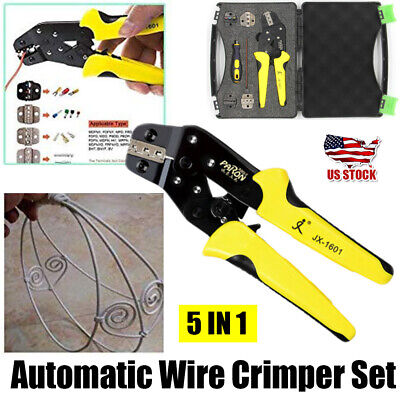 5in1 Terminal Crimper Cable Tube Plier Tool Wire Crimping Connector Ratchet Set