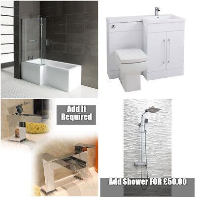 Complete Bathroom Suite L Shape Shower Bath Vanity Unit L shape With Options