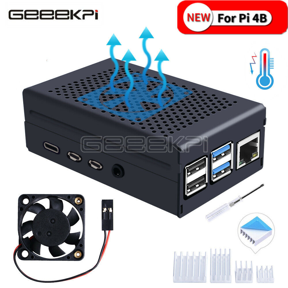 GeeekPi Raspberry Pi 4 Case Aluminum Case with Suspension Fa