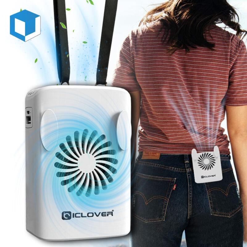 Personal Waist Clip Fan Face Neck Hanging Desk Mini Air Cooling Fan & Power Bank
