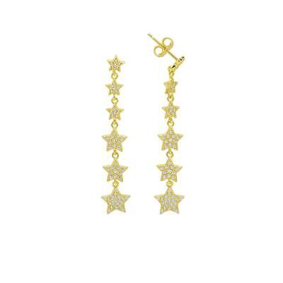 14K Yellow Gold Over Sterling Silver Long Round Diamond Star Drop Stud Earrings