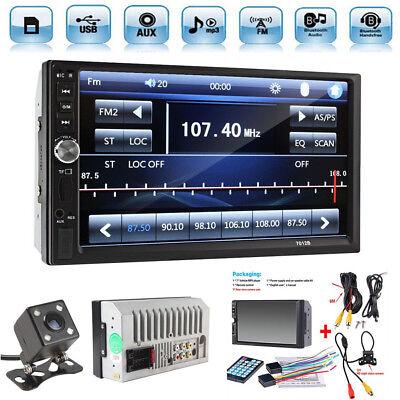 "2 Din 7"" Light Mesh FM Bluetooth Trannie Audio Stereo Car Video Performer+HD Camera"