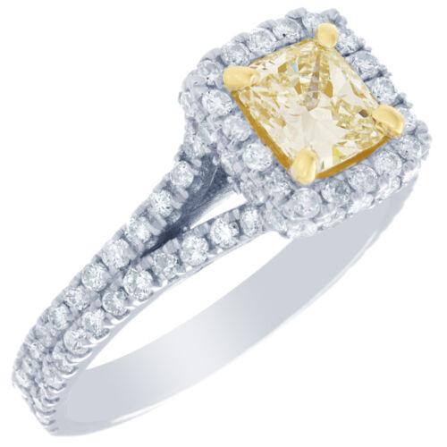 2 Carat GIA Certified Fancy Yellow Cushion Diamond Engagement halo Ring Platinum 1