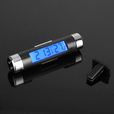 Auto Kfz Digitaluhr Innen Thermometer LCD-Display mit Befestigungsclip Schwarz