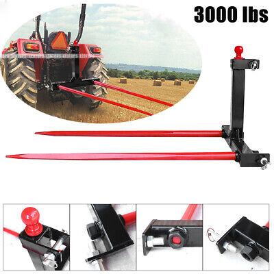 3 Point Attachment W 49 Hay Bale Spear 3000 Lbs Stabilizers Category 1 Tractor