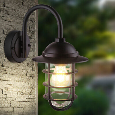 Outdoor wall lamp garden ALU lighting glass lantern facades lamp black