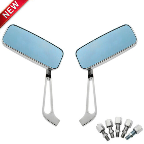 Pair Chrome Rectangle Motorcycle Rearview Side Mirrors 10mm 8mm For Honda Yamaha