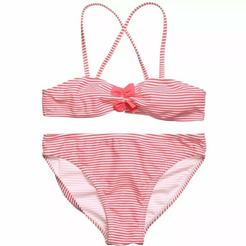 Lili Gaufrette Size 2T Swimsuit Girls Pink Striped Bathing Suit NWT