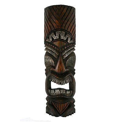 "Tribal Tiki Mask Hawaiian Style Wood Wall  Patio Tropical Bar Decor 20"""