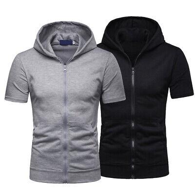Mens Zip Up Hoodie Blouse Short Sleeve Hooded Zipper Sweatshirt Jacket Coat Tops Short Sleeve Zip Hoodie