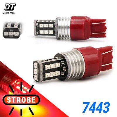 Red Led Light Bulb - Syneticusa 7443 Red LED Strobe Flash Blinking Brake Tail Light/Parking Bulbs