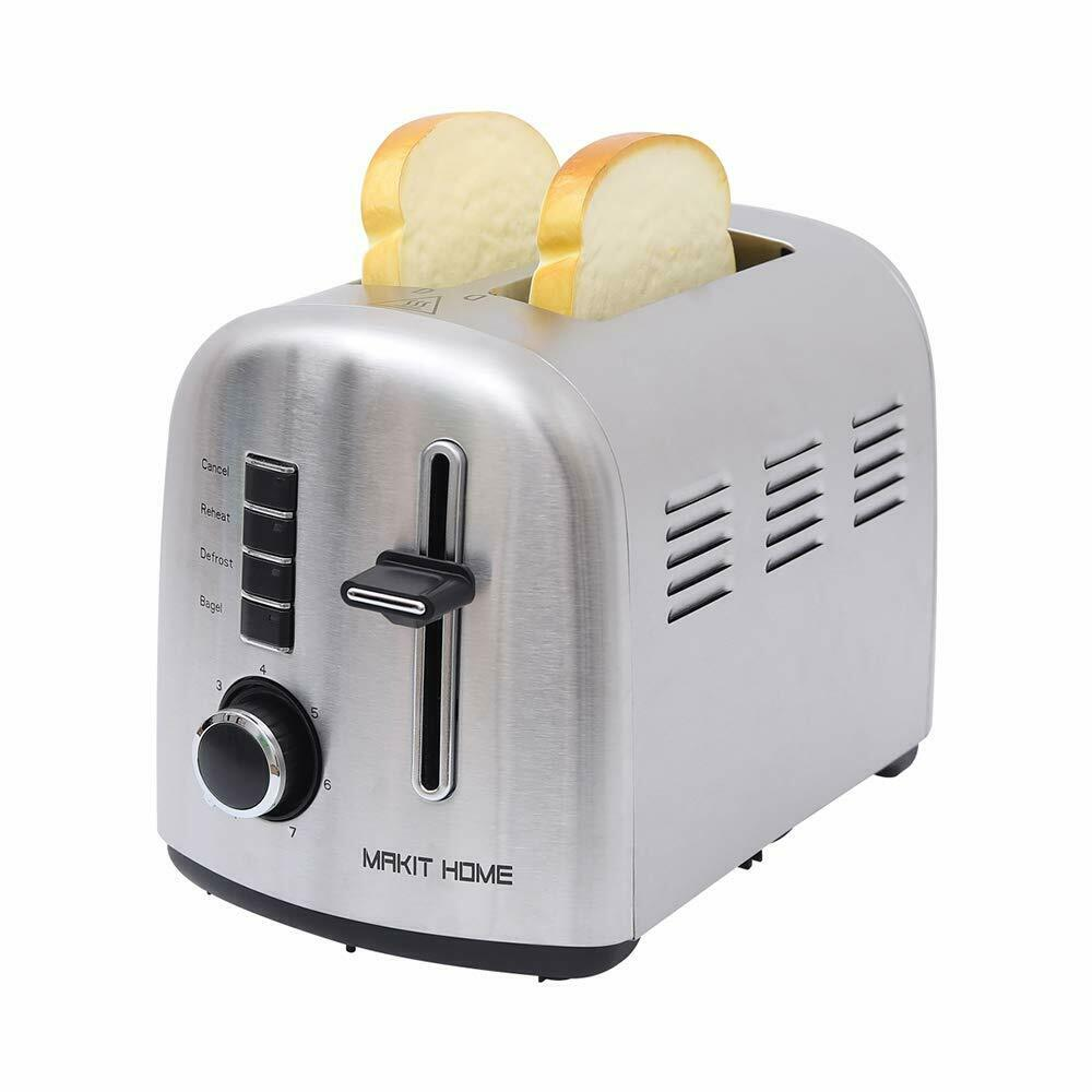 2 Slice Stainless Steel Bread Toaster Extra Wide Slot Oven R