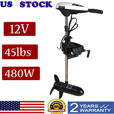 Trolling Motor 45Lbs 12V Electric Transom Mount Freshwater Fishing Boat New 480W