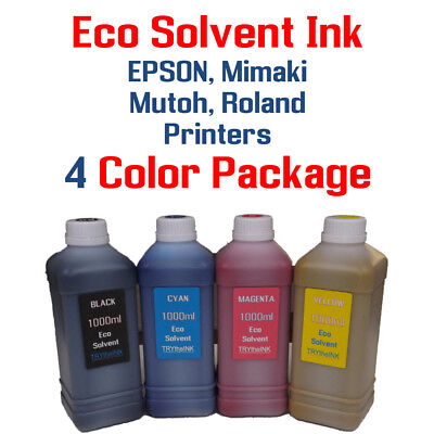 Eco Solvent Ink 4 Multi-color 1000ml Epson Dx5 Dx7 Printhead Mimaki Roland