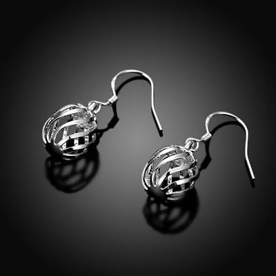 Silver Ball Drop - Womens Sterling Silver Hollow Bead Ball Vogue Drop Dangle Hook Earrings #EA257