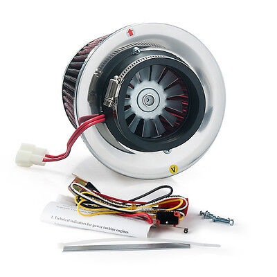 Turbo Kit Electric Turbo Supercharger Kit Air Filter Intake For All Car Iron Fan