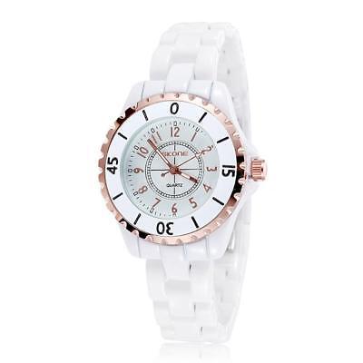 SKONE Gorgeous Elegant Analog Quartz Watch Water Resistant Ceramic (Ceramic Analog Quartz Watch)