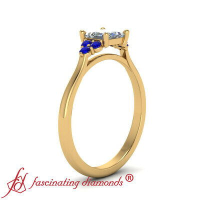 7 Stone Engagement Ring With 0.75 Ctw Princess Cut Diamond And Sapphire Gemstone 2