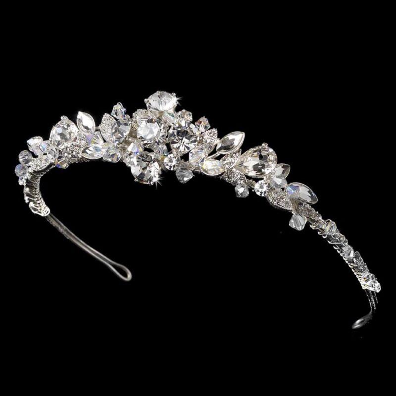 Silver Aurora Borealis Rhinestones w/ Leaf Accents Bridal Wedding Tiara