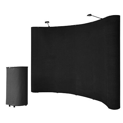 10' Black Portable Pop Up Display Kit w/ Spotlights for Trade Show Booth Exhibit on Rummage