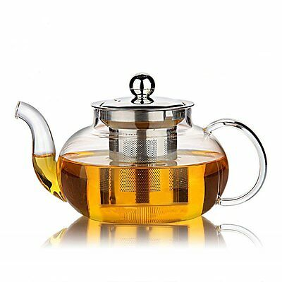 Hiware Good Glass Teapot with Stainless Steel Infuser & Lid, Borosilicate Glass