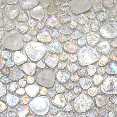 - Iridescent Pebble Glass Mosaic Ice White For Wall and Floor Tile