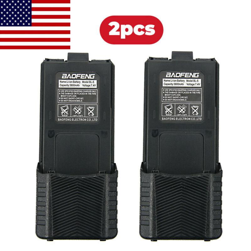 2PC Baofeng Pofung BL-5 3800mAh 7.4V Extended Li-ion Battery For UV-5R Radios