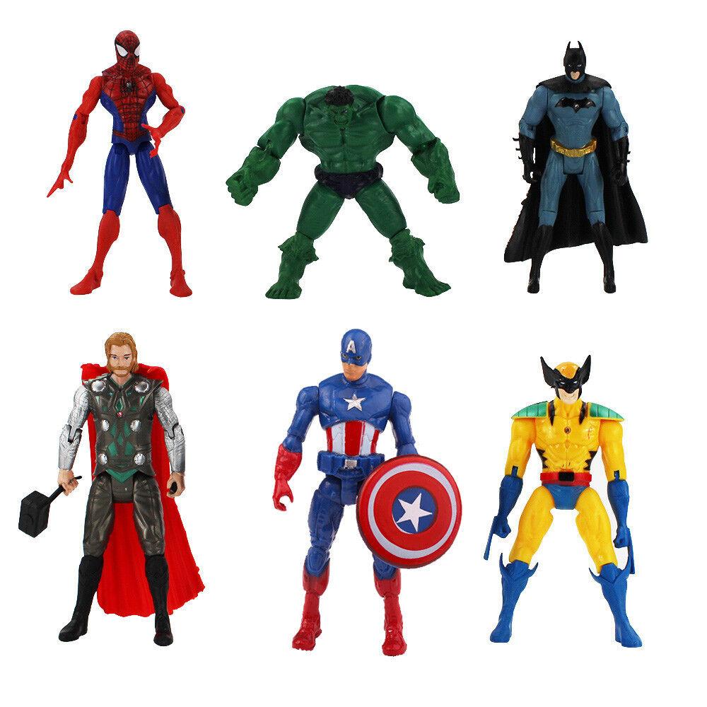Set 6x Figure Batman Thor Spiderman Hulk Captain America Wolverine Doll  Gift Boy 아이템 넘버  273548449405.   30c452a0565
