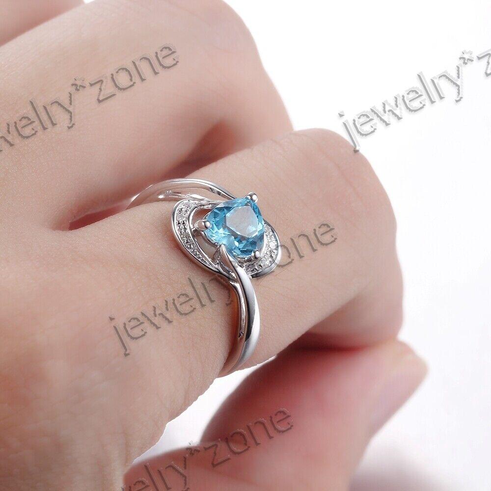 Heart Shape Swiss Blue Topaz Diamond Jewelry Engagement Ring ...
