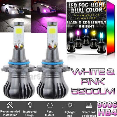 2x 9006 LED DRL Fog Driving Light Bulb Dual Color Strobe Flash White Pink