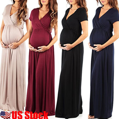 Maternity Womens Cocktail Dress V Neck Pregnancy Clothes Par