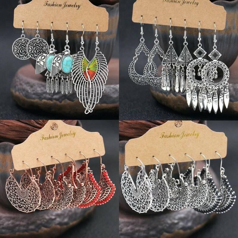 3 Pairs Ethnic Boho Womens Earrings Set Antique Ear Stud Dro