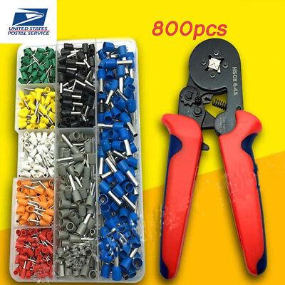 800pcs Crimp Tool Kit Ferrule Crimper Plier Stripper Connector Wire Terminal