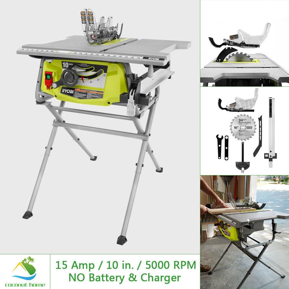 RYOBI Table Saw w Folding Stand 15 Amp 10 in Blade 5000 RPM