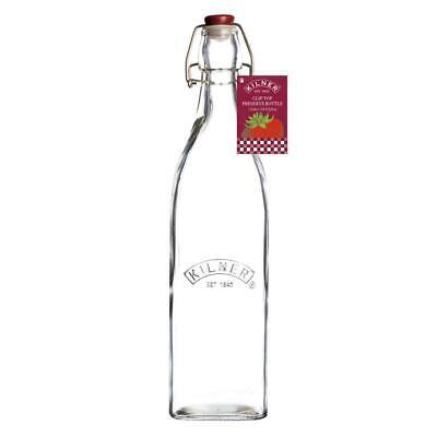 Kilner Transparente Cristal Clip Top Cuadrado Conservador Botella 1L 33.8 Fl. OZ
