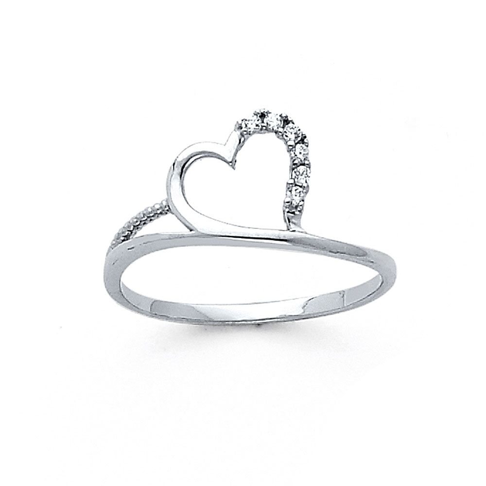 14K Solid White Gold Anniversary Fashion Heart Ring Band