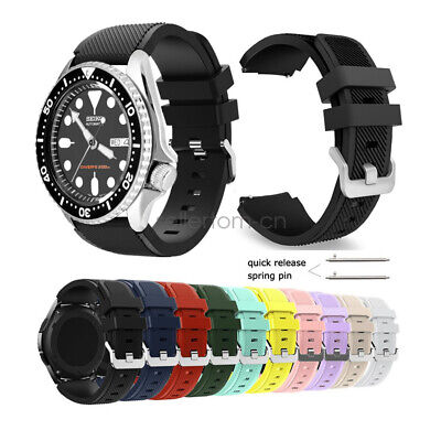 22mm Soft Rugged Silicone Sport Wrist Watch Band Strap For Seiko Diver's Watch 22mm Rubber Strap