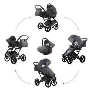 Knorr-Baby-Kombi-Kinderwagen-Set-Voletto-Tupfen-GRAU-mit-Autositz-3312-1