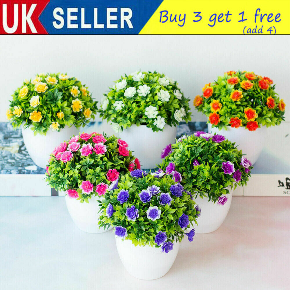 Home Decoration - Outdoor Flower False Plants Flowers Artificial Home Garden Decor With Pot Gifts