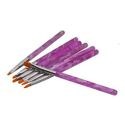7 UV Gel Acrylic Nail Art Tips Builder Painting Detailing Drawing Brushes Pen LW