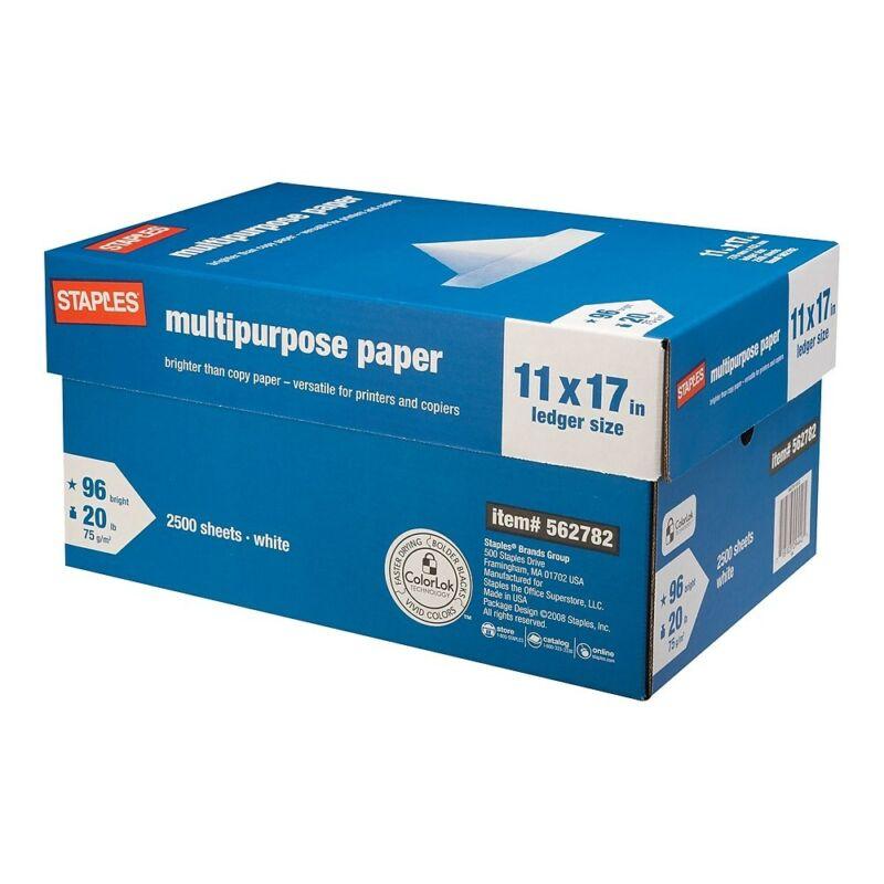 "Staples 11"" x 17"" Multipurpose Paper 20 lbs. 96 Brightness 500/RM 5 RM/CT 562782"