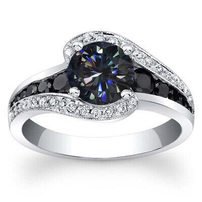 7.0 mm Black blue Round Moissanite Diamond Engagement Ring 18K White Gold Finish 18k White Gold Moissanite Ring